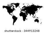 silhouette world... | Shutterstock . vector #344913248