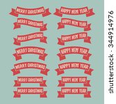 set of red ribbon banners.... | Shutterstock .eps vector #344914976