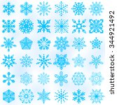 set of vector snowflake icon.... | Shutterstock .eps vector #344921492