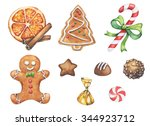 watercolor christmas set of... | Shutterstock . vector #344923712