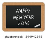 happy new year text on slate ... | Shutterstock .eps vector #344942996