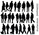 people silhouette walking... | Shutterstock .eps vector #344946032