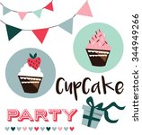 card with cup cake  vector... | Shutterstock .eps vector #344949266