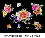 pansies and roses   Shutterstock . vector #344955416