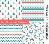 set of seamless christmas... | Shutterstock .eps vector #344965262