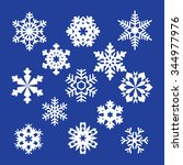 collection of vector snowflakes ... | Shutterstock .eps vector #344977976