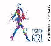 fashion girl in sketch style.... | Shutterstock .eps vector #344981666