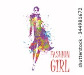 fashion girl in sketch style.... | Shutterstock .eps vector #344981672