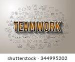 teamwork business success with...   Shutterstock .eps vector #344995202