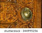 door handle and wooden carvings ... | Shutterstock . vector #344995256