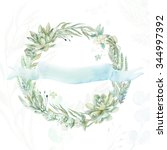 wedding invitation. wreath.... | Shutterstock . vector #344997392
