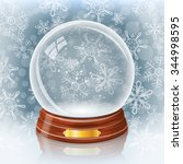 empty snowy glass ball against... | Shutterstock .eps vector #344998595