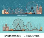vector illustration. ferris... | Shutterstock .eps vector #345003986