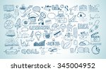 business doodles sketch set  ... | Shutterstock .eps vector #345004952
