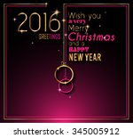 2016 happy new year and merry... | Shutterstock .eps vector #345005912