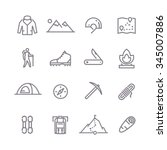 set of line vector icons on the ... | Shutterstock .eps vector #345007886