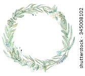 wedding invitation. wreath.... | Shutterstock . vector #345008102