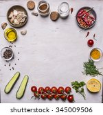 vegetables and seasonings ...   Shutterstock . vector #345009506