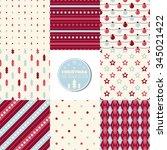 set of seamless christmas...   Shutterstock .eps vector #345021422