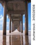 under the pier on the beach ... | Shutterstock . vector #345028508