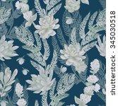 floral seamless pattern.... | Shutterstock . vector #345030518