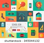big vector school icons set.... | Shutterstock .eps vector #345044132