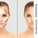 contouring.make up woman face.... | Shutterstock . vector #345049628
