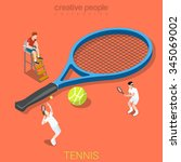 tennis flat 3d isometry... | Shutterstock .eps vector #345069002