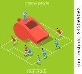 referee whistle soccer football ... | Shutterstock .eps vector #345069062
