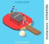 ping pong table tennis flat 3d... | Shutterstock .eps vector #345069086