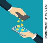 mobile payment money transfer... | Shutterstock .eps vector #345072122