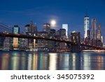 brooklyn bridge at night  new... | Shutterstock . vector #345075392