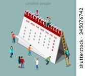 calendar schedule flat 3d... | Shutterstock .eps vector #345076742
