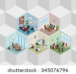 office interior cells flat 3d... | Shutterstock .eps vector #345076796