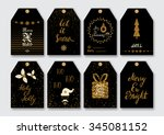 christmas  new year gift tags... | Shutterstock .eps vector #345081152