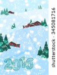 2016 christmas or new year... | Shutterstock . vector #345081716