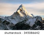 evening view of ama dablam on... | Shutterstock . vector #345086642