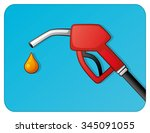 red fuel pump nozzle on a blue... | Shutterstock .eps vector #345091055
