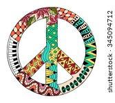 hippie vintage peace symbol in... | Shutterstock .eps vector #345094712