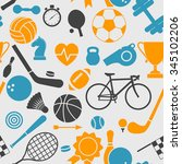 seamless pattern with sport... | Shutterstock .eps vector #345102206