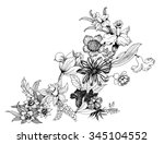 Stock vector summer garden blooming flowers monochrome vector illustration 345104552
