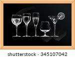 vector set of glasses goblets... | Shutterstock .eps vector #345107042