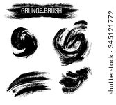 vector set of grunge brush... | Shutterstock .eps vector #345121772