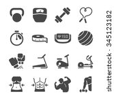 fitness icons. included the... | Shutterstock .eps vector #345123182