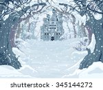 magic fairy tale winter... | Shutterstock .eps vector #345144272