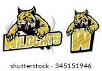 jumping wildcat mascot set