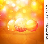 creative glossy xmas balls on... | Shutterstock .eps vector #345153275