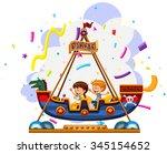 children riding on viking... | Shutterstock .eps vector #345154652
