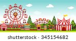 amusement park at daytime... | Shutterstock .eps vector #345154682