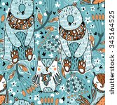 vector seamless pattern with...   Shutterstock .eps vector #345164525